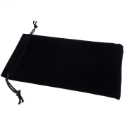 Pack of 12 Black Colour Soft Velvet Pouches w Drawstrings for Jewellery Gift Packaging, 10x16cm