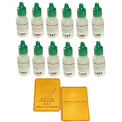12 Bottles 14k Gold Test Testing Lot Tester Acid Detect Scrap Metal Kit Jewellery + FAKE Gold Bar Sample