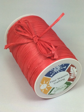 Four Seasons Crafting Red Matte Raffia Ribbon 0.6cm X 100 Yds.