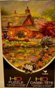 Puzzle 500 Piece HD Woodland Cottage Surouned By Flowers