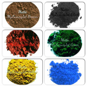 Sample Matte Pigments Lot of 6 Popular Soap & Cosmetic Product Making Powder Pack Brown Red Black Green Yellow Blue 1g Colourants