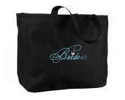 Hortense B. Hewitt Wedding Accessories Black with Aqua Bridal Party Tote Bag, Bride Diamond, 30cm by 36cm