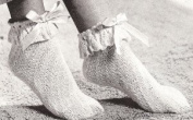 Vintage Knitting & Crochet PATTERN to make - 3 Slippers Bed Socks Anklets. NOT a finished item. This is a pattern and/or instructions to make the item only.
