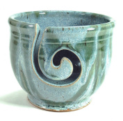 Midnight Sun Pottery Yarn Bowl - Glacier with Green