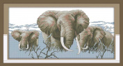 Benway Counted Cross Stitch Elephant Falimy 14count 56cm X 32cm
