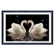 Double white Swan 3D stamped cross stitch kit - 70cm By 47cm