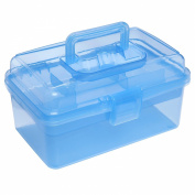 Clear Blue Multipurpose First Aid, Arts & Craft Supply Case / Storage Container Box w/ Removable Tray