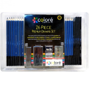 26 Piece Sketch & Drawing Pencils Set By Colore - Charcoal and Graphite Pencils