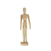 US Art Supply® Wood Artist Drawing Manikin Articulated Mannequin with Base and Flexible Body - Perfect For Drawing the Human Figure