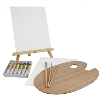 US Art Supply 13-Piece Oil Painting Set with Mini Table Easel