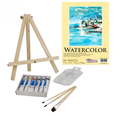 US Art Supply 13-Piece Watercolour Painting Set with Mini Table Easel