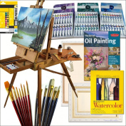 Hardwood French Art Easel with Comprehensive Artist Quality Painting Supplies Set All Medium