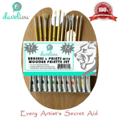 Paint Brushes and Palette Set * Great Value 12 Piece Art Brushes and Paints with Wooden Palette Set * Premium Acrylic Paints - Popular Acrylic Art Detail Paint Brush Types - Luxury Long Handle - Good Quality Low Price.