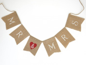 """Mr & Mrs"" Vintage Wedding Anniversary Burlap Bunting Banner Garland Photo Prop - 0.7m Long"