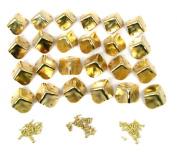 24pcs. Square Brass-plated Box Corners w/mounting screws