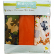 Dritz Babyville 50cm by 60cm PUL Waterproof Nappy Fabric Cuts, Forest Friends/Camouflage, 3-Pack