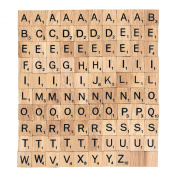 100 Brand New Complete Set Wooden Scrabble Tiles Letter Alphabet Piece Pendants Name Tage for Scrapbooking Name Tag for Wedding