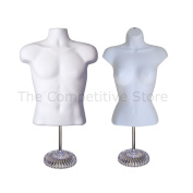 Torso Male + Female (Waist Long) W/ Economic Plastic Base Mannequin Set - White