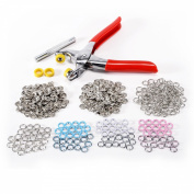 DIY 100 Pcs Prong Ring Press Studs Snap Popper Fasteners 9.5mm 4 Colours+ Pliers