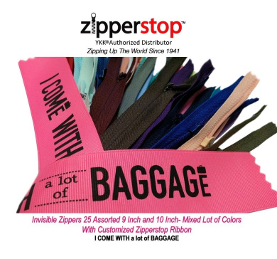 Zipperstop Wholesale YKK®- 23cm & 25cm Invisible Zippers 25 Assorted 23cm and 25cm - Mixed Lot of Colours- Brights, Lights, Darks, and Neutrals Made in USA with Customised Zipperstop Ribbon - Crafter's Special