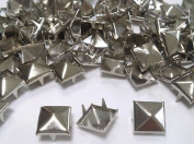 100 X 7mm Silver Square Pyramid Craft Studs, Fashion Embellishment for Bag Shoe