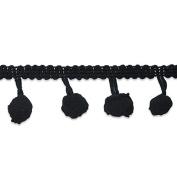 Expo International 1.9cm Pom Fringe Trim Embellishment, 20-Yard, Black