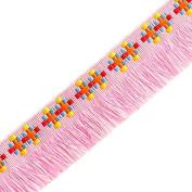 2.5cm Vintage Cotton Fringe by 2-yards, Pink, YD-351