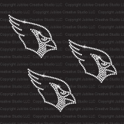 Set of 3 Small Cardinal Head Iron On Rhinestone T-Shirt Transfer