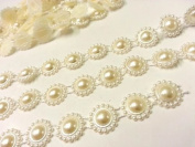 At2- 3m X 17mm Wide Ivory Vintage Pearl Beaded Lace Bridal Wedding Trim Ribbon