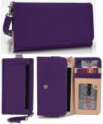 NuVur Slim Wallet Case Clutch Holds ID,Cards,Money (Purple for Samsung Galaxy Avant