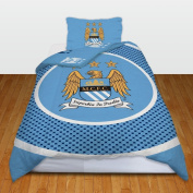 Manchester City FC Official Bullseye Reversible Duvet Cover Bedding Set (Single and Double) (Single Bed)