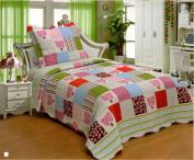 2pcs Kids' Boys & Girls Twin Size 100% Polyester Bedspread Quilt Coverlet & Sham