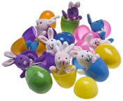 Plush Bunny Filled 7.6cm Colourful Easter Eggs