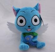 Fairy Tail Happy Cat 25cm Blue Plush Doll Stuffed Figure Natsu Friend Great Gift