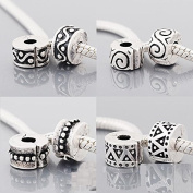 Set of 4 Abstract Design Clip Lock Stopper Charm Bead Fits Pandora Style Bracelets