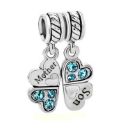 Sterling Silver Mother Son Love Heart Lt Blue CZ Clover Dangle Bead For Pandora European Charm Bracelets