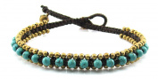MGD, Blue Turquoise Colour Bead with Golden Beads and Brass Bell Anklet. Beautiful Handmade Stone Ankle Bracelet Made From Wax Cord. Fashion Jewellery for Women, Teens and Girls, JB-0182A