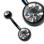 Clear Double Crystal Gem Black Titanium Belly Navel Bar 14 Gauge x 6mm [SMALL BAR]