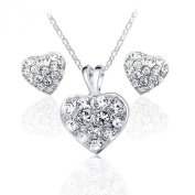 Yoursfs Cute Shining Hearts Crystal Box Charms 18k White Gold Plated Stud Earrings and Necklace Set