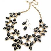 Gold stunning dangling black imitation stone statement necklace earrings fashion jewellery set