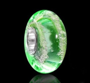 925 Sterling Silver Crystal Bead Element Murano Green Bubbles - 1419# Beads for Model
