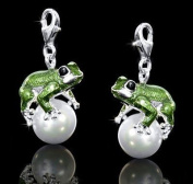 Materia #C33 Frog Charm Pendant with Pearls in 925 Silver for Charm Bracelets and Chains