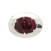 Shrieking Violet Sterling Silver Real Red Poppy Flowers Large Oval Brooch