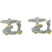 Artamis Gents Silver Two Tone Metal Scooter Cufflinks In Presentation Box