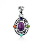 Bling Jewellery Sterling Silver Purple Turquoise Coral Lapis Pendant Necklace