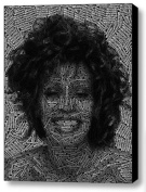 Abstract Whitney Houston Text Mosaic Framed 23cm x 28cm Limited Edition with COA