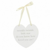 Bambino MDF Wall Hanging Heart Plaque - Twinkle Twinkle