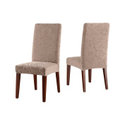Sure Fit Stretch Jacquard Damask Short Dining Room Chair Cover-Mushroom