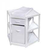 Badger Basket Nappy Corner Baby Changing Table with Hamper and Basket, White