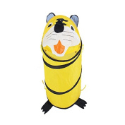 Consider It Maid Laundry Toy Bin Storage Collapsible Basket Kids Pop Up Hamper - Large - Yellow Tiger - The Animal Collection